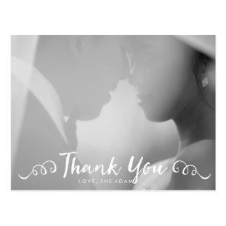 La foto del boda de la caligrafía le agradece postal