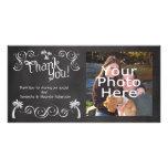 La foto del boda de playa de la palmera de la piza tarjeta fotografica