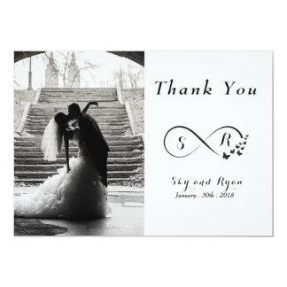 La foto del boda negra y el blanco le agradecen invitación 12,7 x 17,8 cm