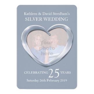 La foto del corazón de la bodas de plata 25 años invitación 12,7 x 17,8 cm