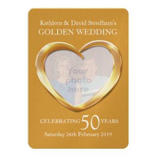La foto del corazón del boda de oro 50 años de invitación 12,7 x 17,8 cm