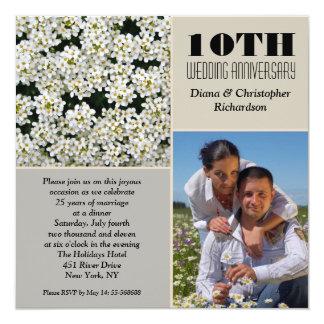 la foto elegante del aniversario de las flores invitación 13,3 cm x 13,3cm
