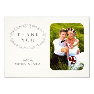La foto elegante SIMPLE del boda le agradece Invitación 12,7 X 17,8 Cm