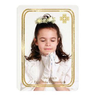 La foto fina doble del marco del oro religiosa invitación 12,7 x 17,8 cm