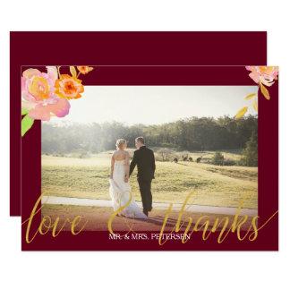 La foto floral del boda de la caída de Borgoña del Invitación 8,9 X 12,7 Cm