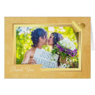 La foto lesbiana gay del boda del oro elegante le tarjeta de felicitación