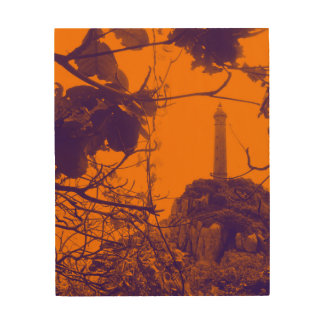 La foto más alta más vieja del naranja del faro de impresión en madera