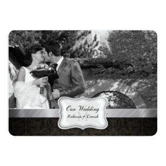 La foto negra elegante del boda del damasco invita anuncios personalizados