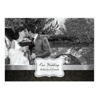La foto negra elegante del boda del damasco invita invitación 12,7 x 17,8 cm