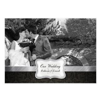 La foto negra elegante del boda del damasco invita invitacion personalizada