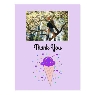 La foto púrpura del helado le agradece postal