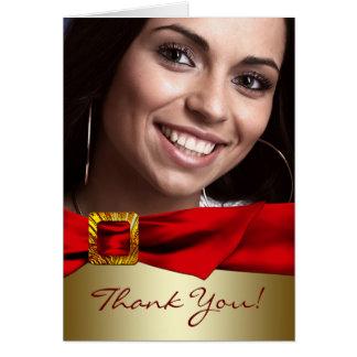 La foto roja Quinceanera del oro le agradece las Tarjeta De Felicitación