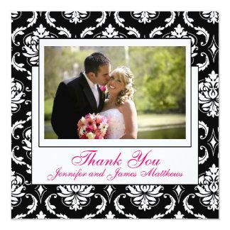 La foto rosada del boda de Champán le agradece los Invitación 13,3 Cm X 13,3cm