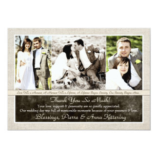 La foto rústica del boda tres le agradece las invitación 12,7 x 17,8 cm
