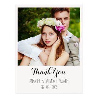 La foto simple del boda le agradece postal