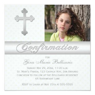 La foto verde blanca de la confirmación de los invitación 13,3 cm x 13,3cm