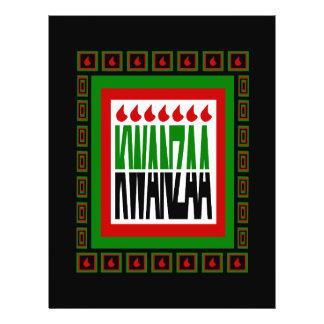 La fractura de Kwanzaa con 7 llamas y adornó el ma Tarjetones