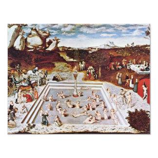 La fuente de la juventud por Cranach D. Ä. Lucas Invitación 10,8 X 13,9 Cm
