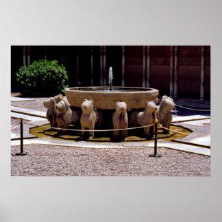 La fuente de los leones, Alhambra, Granada, Posters