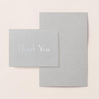 La fuente elegante elegante le agradece tarjeta con relieve metalizado
