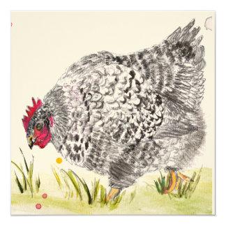 """La """"gallina de Maria"""" moteó la tarjeta de Invitación 13,3 Cm X 13,3cm"""