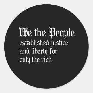 La gente establecemos la justicia y la libertad pa etiqueta redonda
