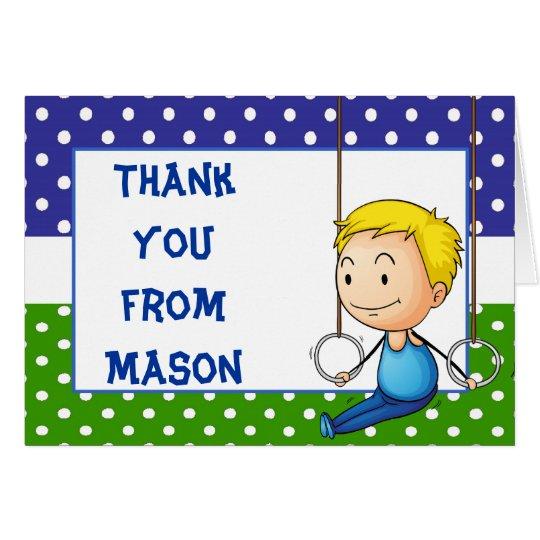 La gimnasia rubia del muchacho le agradece tarjeta