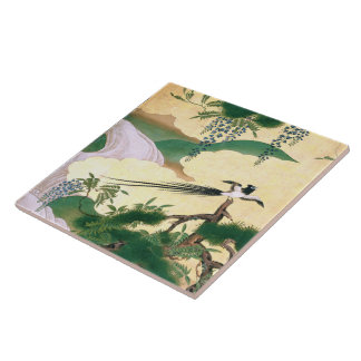 La glicinia asiática florece la teja del pájaro