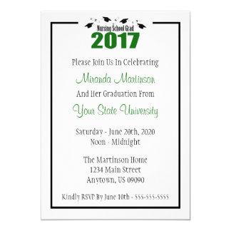La graduación 2017 de la escuela de enfermería invitación 12,7 x 17,8 cm