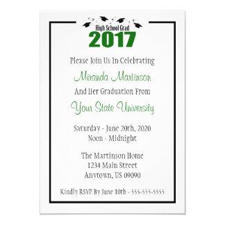 La graduación 2017 del graduado de la High School Invitación 12,7 X 17,8 Cm