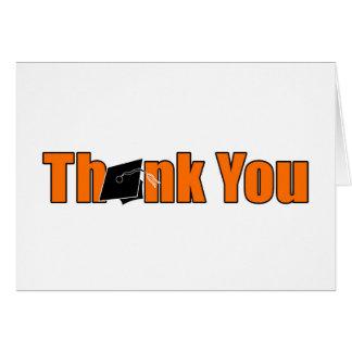 La graduación anaranjada y negra le agradece tarjeta de felicitación