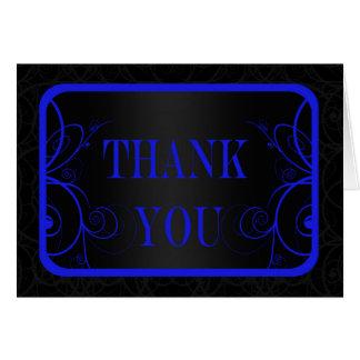 La graduación azul y negra del marco le agradece tarjeta pequeña
