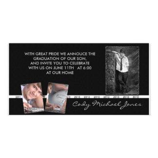 La graduación blanco y negro Annoucment y invita Tarjetas Fotograficas Personalizadas