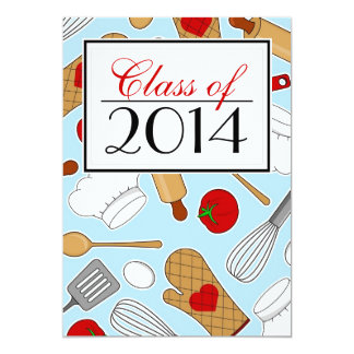 La graduación culinaria linda de la escuela invita invitación 12,7 x 17,8 cm