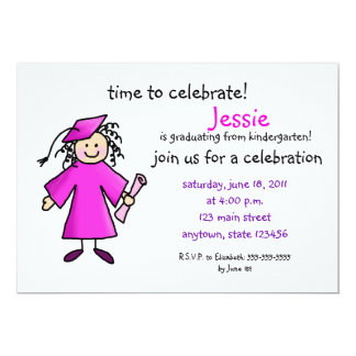 La graduación de la guardería invita--Chica, rosa Invitación 12,7 X 17,8 Cm