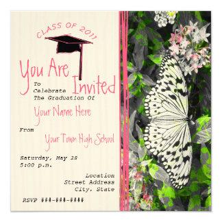 La graduación de la mariposa invita - a color invitación 13,3 cm x 13,3cm