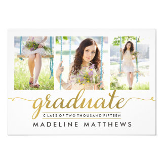 La graduación Editable del color de la escritura Invitación 12,7 X 17,8 Cm