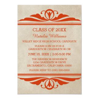 La graduación elegante anaranjada de Deco invita Invitación 12,7 X 17,8 Cm
