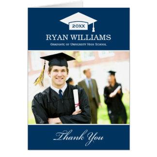 La graduación le agradece blanco de los azules tarjeta pequeña