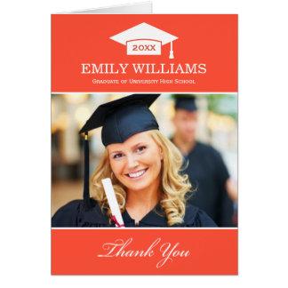 La graduación le agradece naranja rojo de las tarjeta pequeña