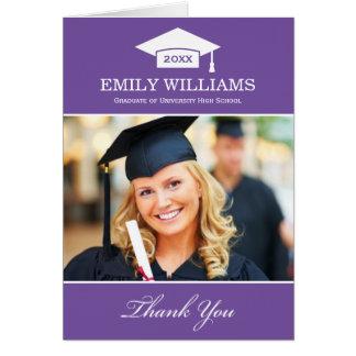 La graduación le agradece púrpura real de las tarj tarjeta pequeña