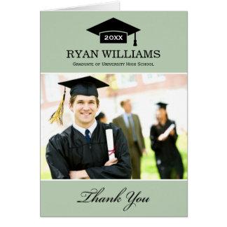 La graduación le agradece verde salvia de las tarjeta pequeña