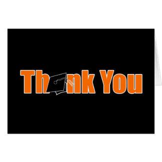 La graduación negra y anaranjada le agradece tarjeta pequeña