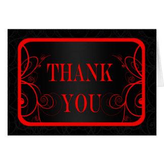 La graduación roja y negra del marco le agradece tarjeta pequeña