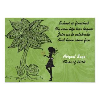 La graduación única de la flor del chica de la invitación 12,7 x 17,8 cm