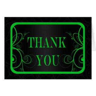 La graduación verde y negra del marco le agradece tarjeta pequeña