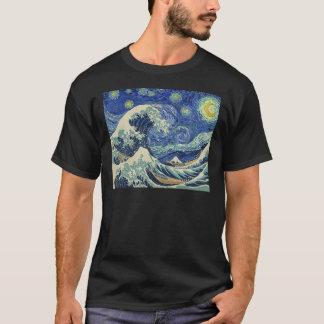 La gran onda de Kanagawa - la noche estrellada Camiseta