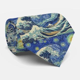 La gran onda de Kanagawa - la noche estrellada Corbata