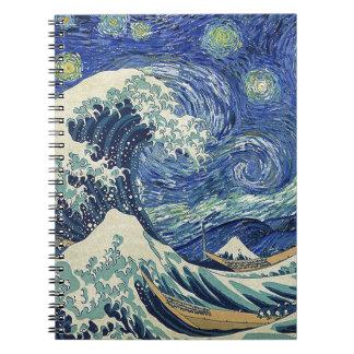 La gran onda de Kanagawa - la noche estrellada Libros De Apuntes Con Espiral