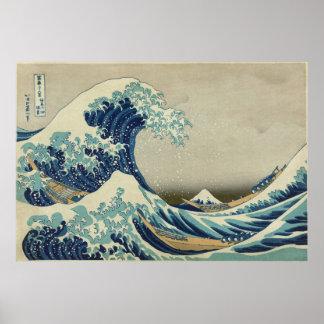 La gran onda Katsushika 36 vistas del monte Fuji Póster